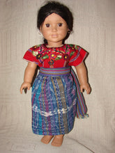 "Doll - Patzun  Flowered  Red and Burgundy 18"" Doll Outfit"