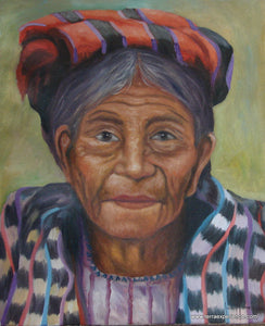 "Juan Tiney Large Oil Painting - Woman from Santiago Atitlan -  (P-L-JT-002) 12"" x 15"""