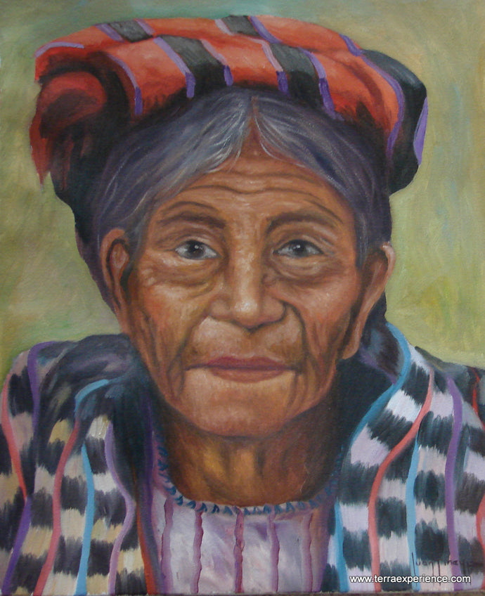Juan Tiney Large Oil Painting - Woman from Santiago Atitlan -  (P-L-JT-002) 12