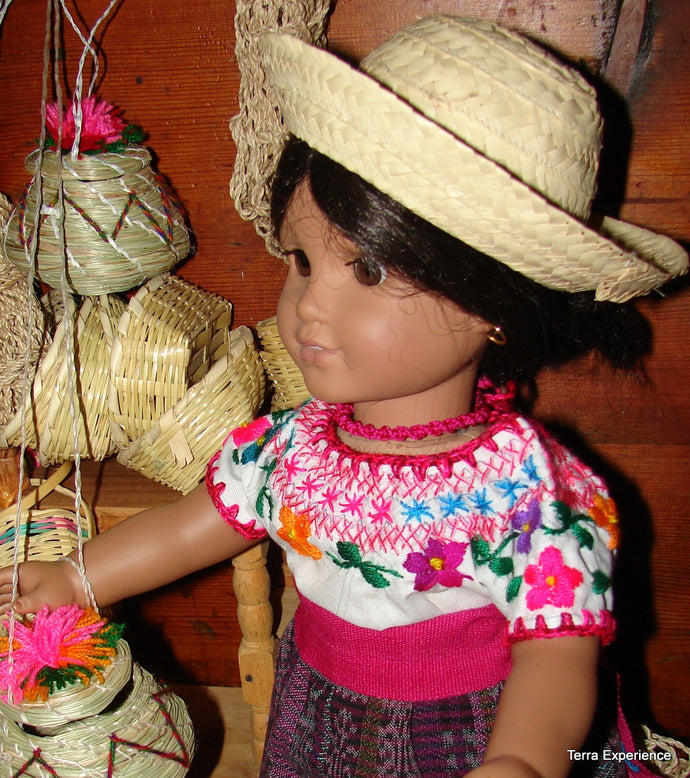 Doll Hats, Straw Brimmed   /