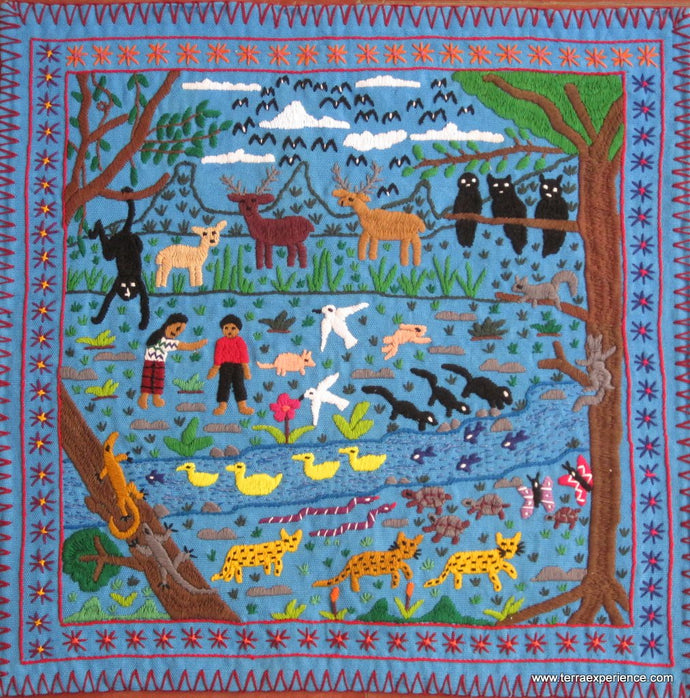 Mayan Embroidered Folk Art Tapestry 15-04: