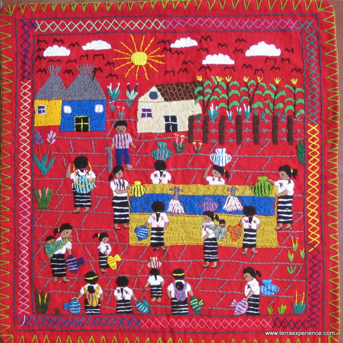 Mayan Embroidered Folk Art Tapestry 15-12: