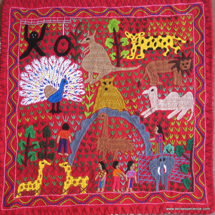 Mayan Embroidered Folk Art Tapestry 15-18: