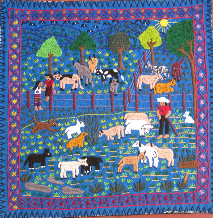 Mayan Embroidered Folk Art Tapestry 15-19: