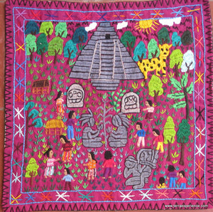 "Mayan Embroidered Folk Art Tapestry 15-24:    ""Tema Excurcion de Peten"" (Trip to the Peten),  Josefina Quino"