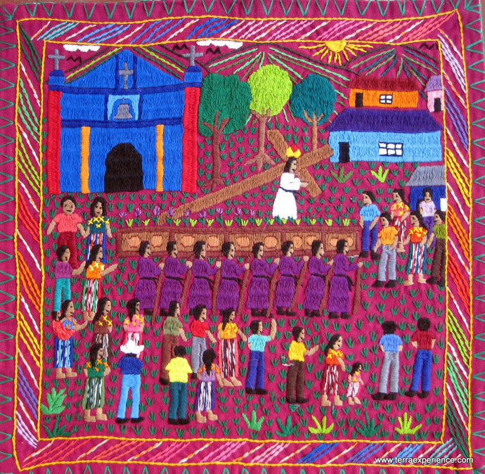Mayan Embroidered Folk Art Tapestry 15-34: