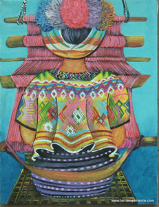 "Unsigned Oil Painting - Mayan Woman Weaving - Espalda View  (P-M-UNK-008)  10""x13"""