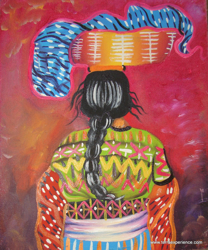 Unsigned Oil Painting - Mayan Woman  - Espalda View  (P-M-UNK-003)  9