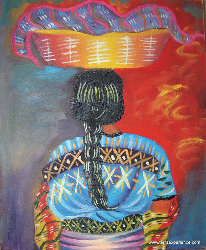 Unsigned Oil Painting - Mayan Woman  - Espalda View  (P-M-UNK-006)  9