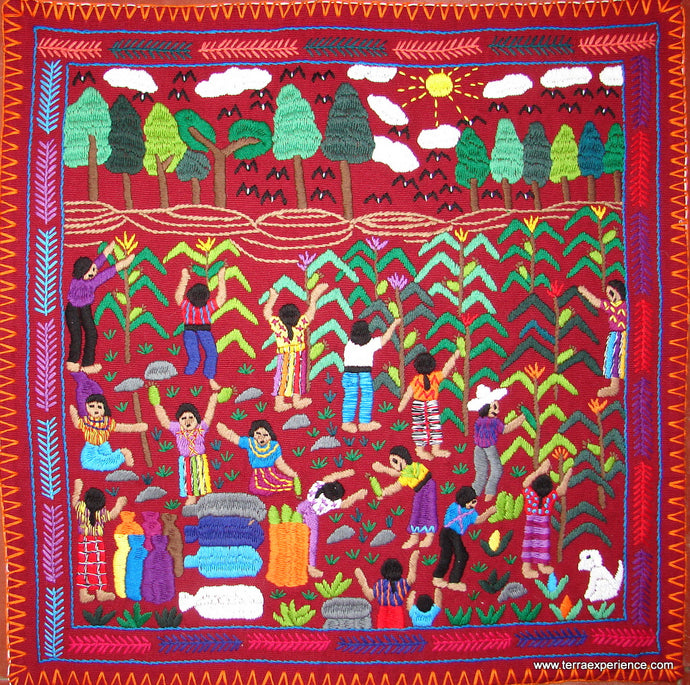 Mayan Embroidered Folk Art Tapestry 14-16: