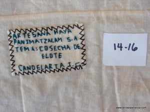 "Mayan Embroidered Folk Art Tapestry 14-16:    ""Tema: Cosecha de Elote"" (Cutting the Stalks), Candelaria J. C."