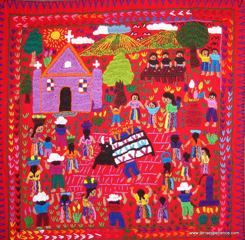 Mayan Embroidered Folk Art Tapestry 14-26: