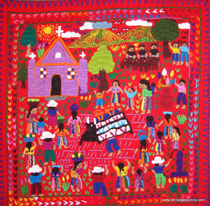 "Mayan Embroidered Folk Art Tapestry 14-26:    ""El Bayle Del Torrito"" (The Dance of the Bull), Rosario Paralgal"