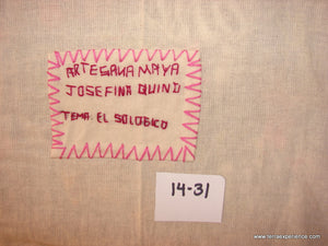 "Mayan Embroidered Folk Art Tapestry 14-31:    ""El Sologico"" (The Zoo),  Josefina Quino"