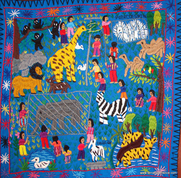 Mayan Embroidered Folk Art Tapestry 14-31:
