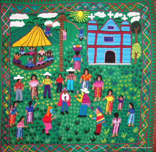 Mayan Embroidered Folk Art Tapestry 14-32: