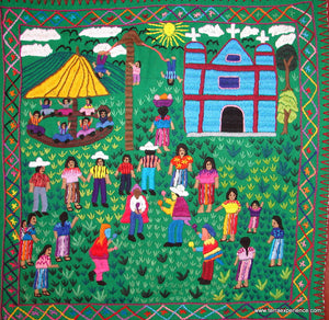 "Mayan Embroidered Folk Art Tapestry 14-32:    ""Tema: El Baile de Moros"" (Dance of the Moors), Candelaria J. C."