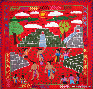 "Mayan Embroidered Folk Art Tapestry 14-34:    ""Juego De Pelota Maya"" (The Mayan Ball Game), Rosario Paralgal"
