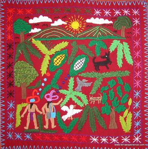 "Mayan Embroidered Folk Art Tapestry 14-37:    ""La Historia Del Maiz"" (The History of the Corn), Rosario Paralgal"