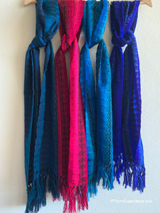 "Scarves: Beautiful Rayon Scarves with Fringed Ends 8"" x 52"" from San Antonio Palopo, Guatemala"
