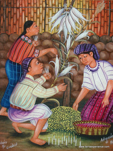 "Jose Antonio Pur Gonzalez Oil Painting - Ceremony of the Maize (P-M-JAPG-013)  9""x11"""