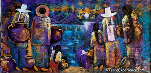 "Joselyn Cholotio Large Oil Painting - Mayan Families at Lake Atitlan, Back (Espalda) View (P-L-JC-20B) 20"" x 40"""