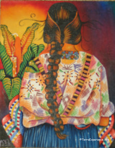 "Unsigned Oil Painting - Mayan Woman from Quezaltenango (Xela) - Espalda View  (P-M-MYL-19B)  9""x11"""