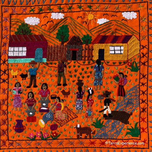 Mayan Embroidered Folk Art Tapestry 20-K: