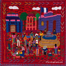 "Mayan Embroidered Folk Art Tapestry 20-L:  ""El Parque"" (The Park) - Manulia Juracan"