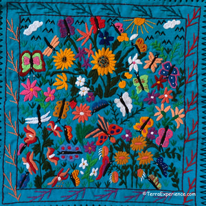 "Mayan Embroidered Folk Art Tapestry 20-M:  ""Tema: Mariposario"" (Theme: The Butterflies) - Josefina Quino"