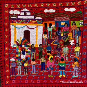 "Mayan Embroidered Folk Art Tapestry 20-N:  ""La Feria Santo Tomas"" (The Fair Santo Tomas) - Rosario Parabal Tuc"
