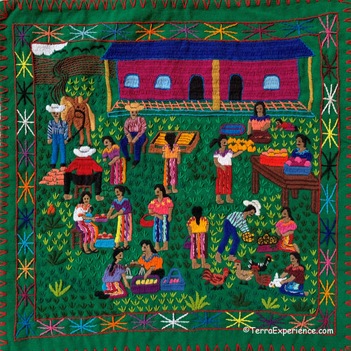 Mayan Embroidered Folk Art Tapestry 20-O: