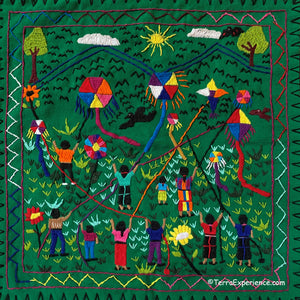 "Mayan Embroidered Folk Art Tapestry 20-P:  ""Los Barriletes"" (The Kites) - Rosario Parabal Tuc"