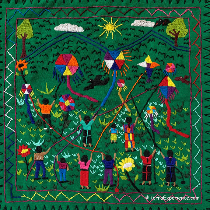 Mayan Embroidered Folk Art Tapestry 20-P: