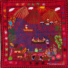 "Mayan Embroidered Folk Art Tapestry 20-Q:  ""Atitlan"" (Lake Atitlan) - Josefina Quino"