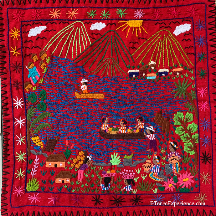 Mayan Embroidered Folk Art Tapestry 20-Q:
