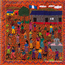 "Mayan Embroidered Folk Art Tapestry 20-R:  ""La Escuela"" (The School) - Delma Selena Cuy Z."