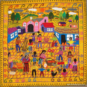 "Mayan Embroidered Folk Art Tapestry 17-04:  ""El Mercado"" (The Market), Candelaria J. C."