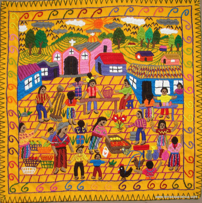 Mayan Embroidered Folk Art Tapestry 17-04: