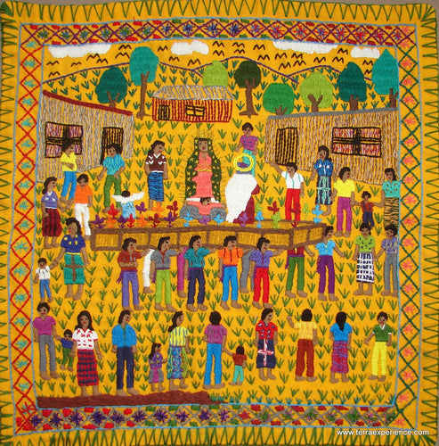 Mayan Embroidered Folk Art Tapestry 17-02: