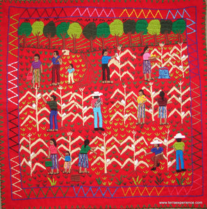 "Mayan Embroidered Folk Art Tapestry 17-05:  ""The Tapisca"",  Sandra Morales"