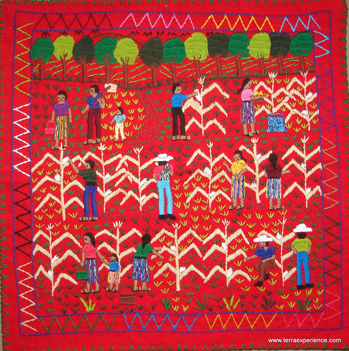 Mayan Embroidered Folk Art Tapestry 17-05: