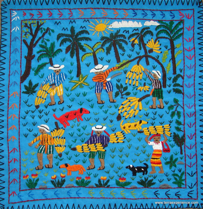 Mayan Embroidered Folk Art Tapestry 17-07: