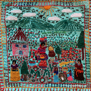Mayan Embroidered Folk Art Tapestry 0R-03:  (Christmas Market) - Glenda Morales