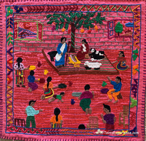 Mayan Embroidered Folk Art Tapestry 0R-01:   El Nacimento Del Dios (The BIrth of Christ) - Maedalena Chumil