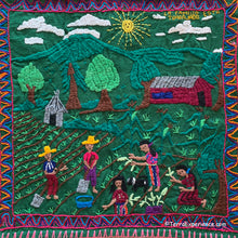 Mayan Embroidered Folk Art Tapestry R-02:  La Familia Esta Trabajado (The family is working) - Maria Morrles Quino