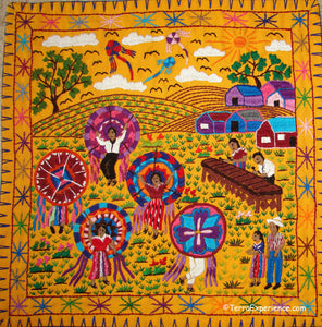 Mayan Embroidered Folk Art Tapestry 19-01