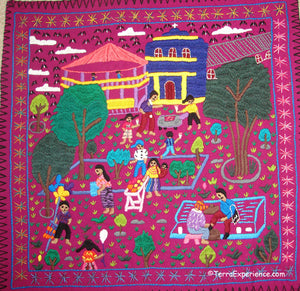 Mayan Embroidered Folk Art Tapestry 19-02:  Tema: El Parque (The Park) - Candelaria J.C.