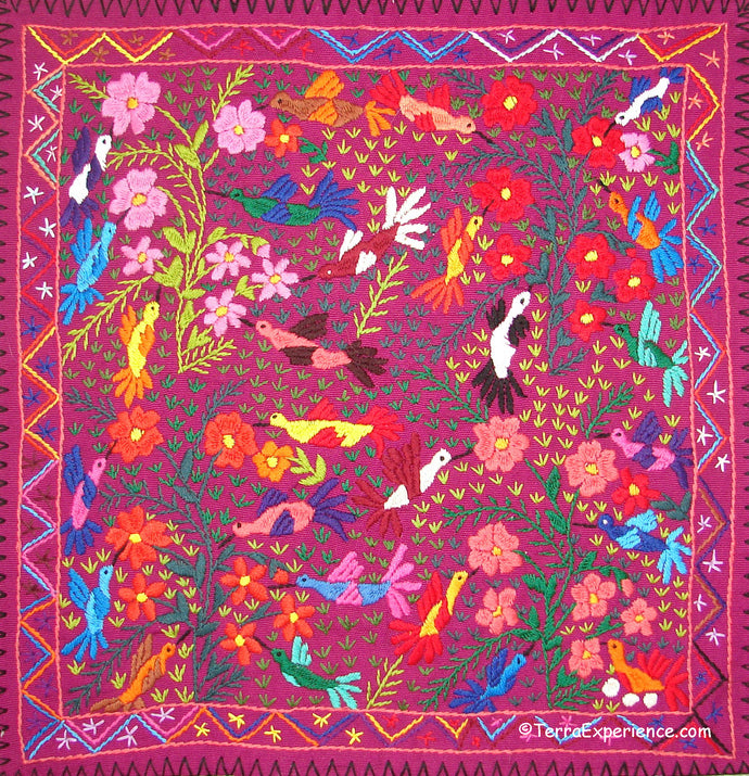 Mayan Embroidered Folk Art Tapestry 19-04:  Los Colibris (The Hummingbird) - Catarina Quino