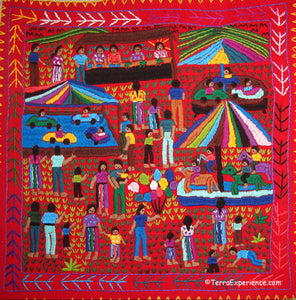 Mayan Embroidered Folk Art Tapestry 19-05:  La Feria (The Fair) - Sandra Morales